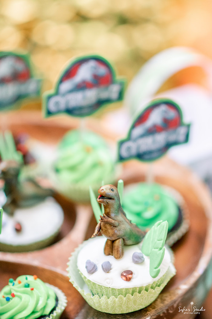Dinosaur Cupcake from a Jurassic World Birthday Party on Kara's Party Ideas | KarasPartyIdeas.com (7)