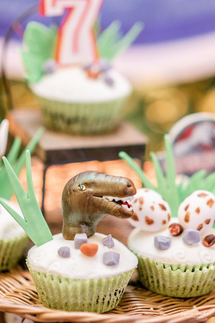 Dinosaur Cupcake from a Jurassic World Birthday Party on Kara's Party Ideas | KarasPartyIdeas.com (6)