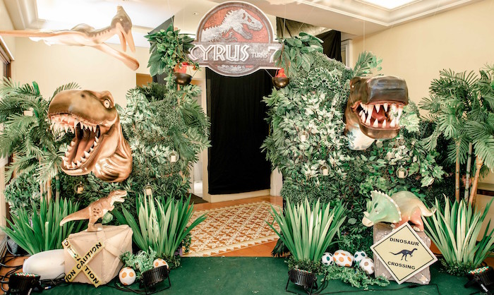 Jurassic World Party Entrance from a Jurassic World Birthday Party on Kara's Party Ideas | KarasPartyIdeas.com (33)