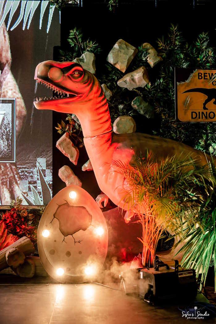Giant Dinosaur Prop from a Jurassic World Birthday Party on Kara's Party Ideas | KarasPartyIdeas.com (30)