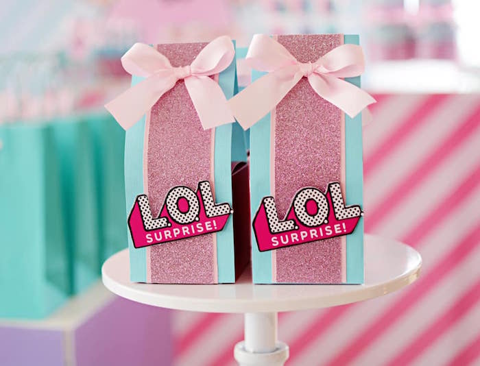 LOL-labeled Favor Bags from an L.O.L. Surprise Spa Party on Kara's Party Ideas | KarasPartyIdeas.com (8)