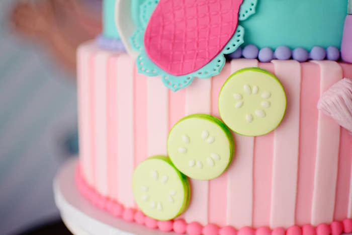 Fondant Cucumbers on a Spa Themed Cake from an L.O.L. Surprise Spa Party on Kara's Party Ideas | KarasPartyIdeas.com (16)