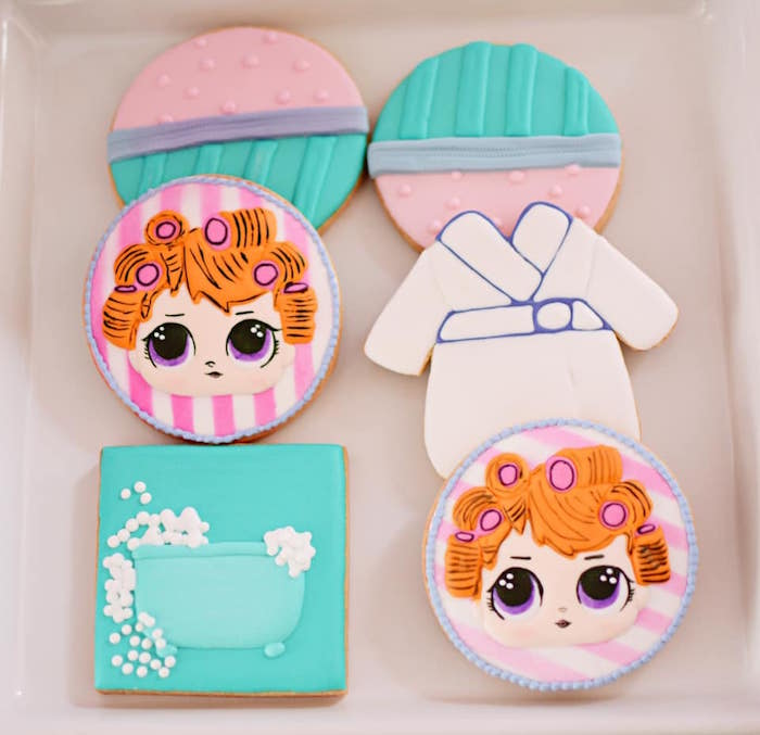 ADORABLE Spa Themed Sugar Cookies from an L.O.L. Surprise Spa Party on Kara's Party Ideas | KarasPartyIdeas.com (14)