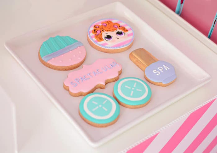 L.O.L. Surprise Spa Themed Sugar Cookies from an L.O.L. Surprise Spa Party on Kara's Party Ideas | KarasPartyIdeas.com (13)