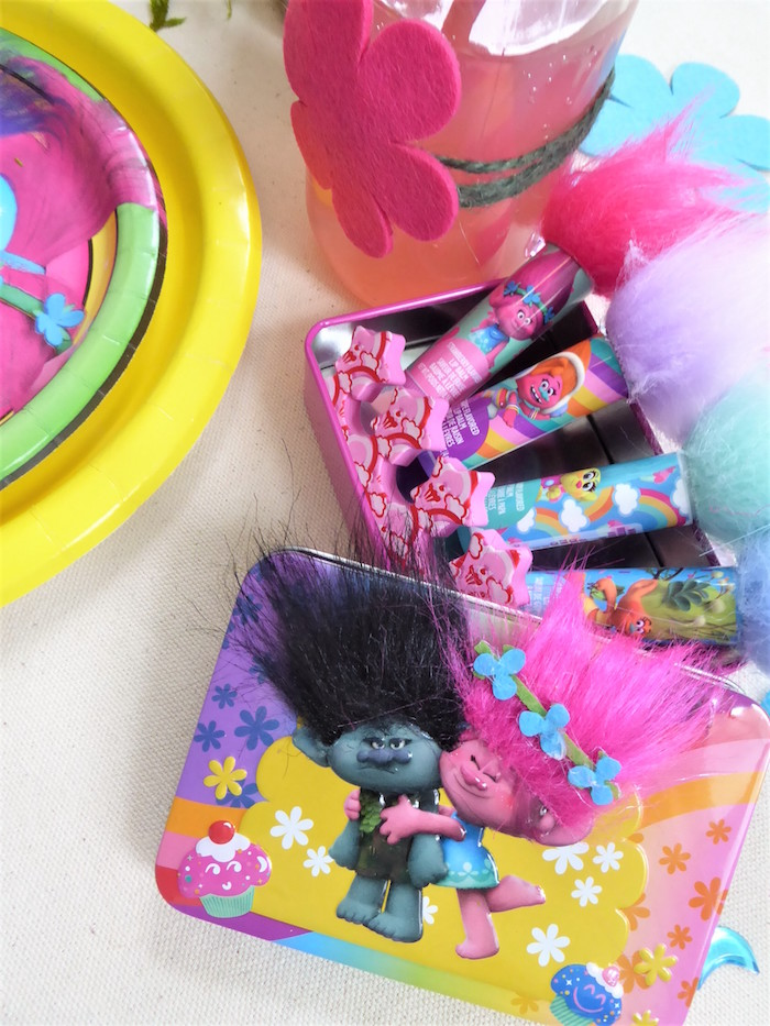 Trolls Lip Balm Favor from a Trolls Themed Spa Party for Girls on Kara's Party Ideas | KarasPartyIdeas.com