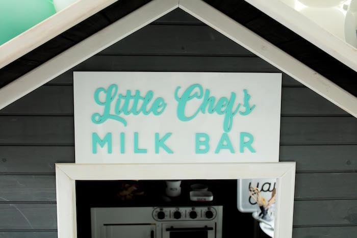Little Chef's Milk Bar Sign from a Little Chef Milk Bar Party on Kara's Party Ideas | KarasPartyIdeas.com (25)