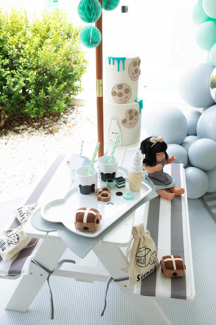 Cookies and Milk Picnic Table from a Little Chef Milk Bar Party on Kara's Party Ideas | KarasPartyIdeas.com (24)