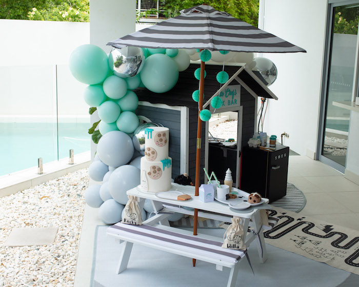 Cookies and Milk Picnic Table from a Little Chef Milk Bar Party on Kara's Party Ideas | KarasPartyIdeas.com (22)