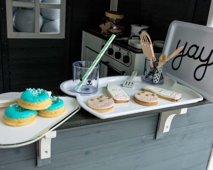 Cookies and Milk Bar from a Little Chef Milk Bar Party on Kara's Party Ideas | KarasPartyIdeas.com (19)