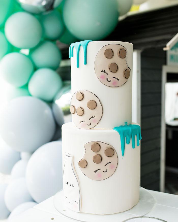 Cookies & Milk Themed Cake from a Little Chef Milk Bar Party on Kara's Party Ideas | KarasPartyIdeas.com (31)