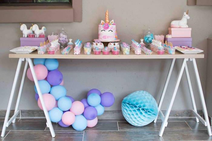 Unicorn Themed Dessert Table from a Magical Unicorn Birthday Party on Kara's Party Ideas | KarasPartyIdeas.com (15)