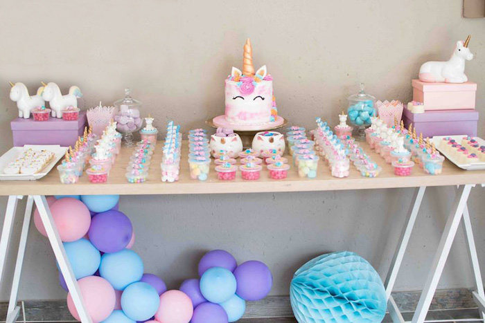 Unicorn Themed Dessert Table from a Magical Unicorn Birthday Party on Kara's Party Ideas | KarasPartyIdeas.com (12)