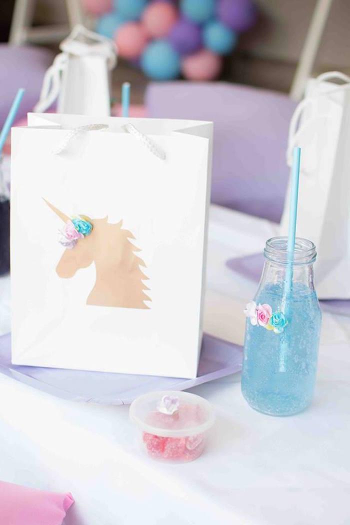 Unicorn Themed Table Setting + Gift Bag from a Magical Unicorn Birthday Party on Kara's Party Ideas | KarasPartyIdeas.com (11)