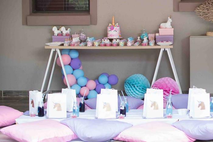 Unicorn Party Tables from a Magical Unicorn Birthday Party on Kara's Party Ideas | KarasPartyIdeas.com (10)