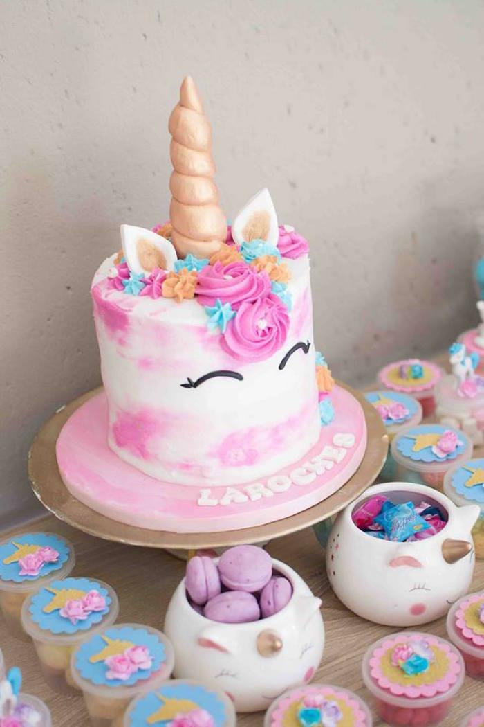 Watercolor Unicorn Cake from a Magical Unicorn Birthday Party on Kara's Party Ideas | KarasPartyIdeas.com (24)