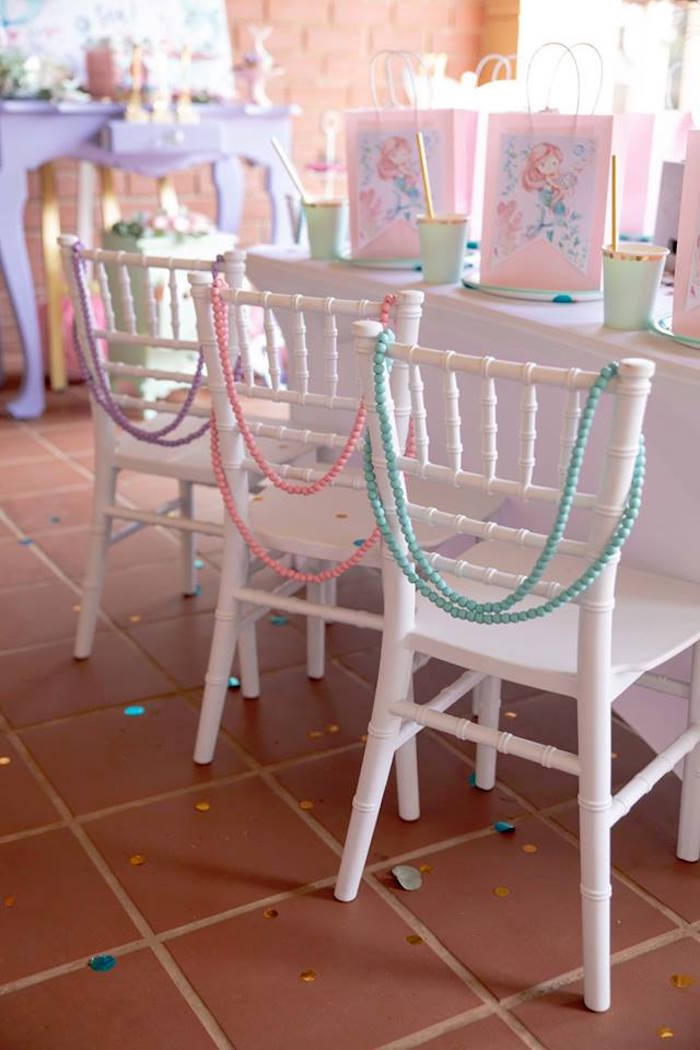 Beaded Party Chairs from a Mermaid Birthday Party on Kara's Party Ideas | KarasPartyIdeas.com (27)