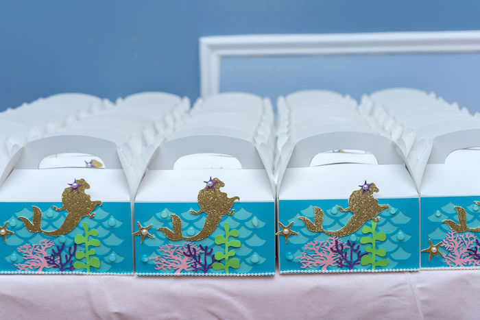 Mermaid Favor Boxes from a Mermaid Under the Sea Birthday Party on Kara's Party Ideas | KarasPartyIdeas.com (5)