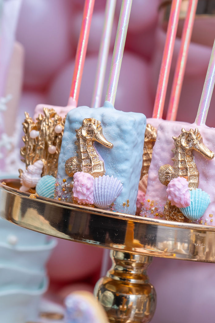Sea Horse Rice Krispie Treats from a Mermaid Under the Sea Birthday Party on Kara's Party Ideas | KarasPartyIdeas.com (17)