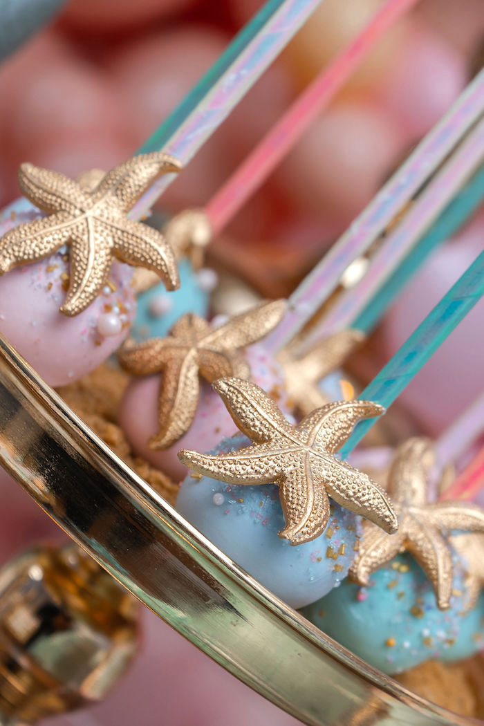 Star Fish Cake Pops from a Mermaid Under the Sea Birthday Party on Kara's Party Ideas | KarasPartyIdeas.com (11)