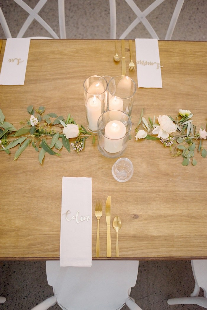 Table Setting from a Minimal & Elegant Oceanside Wedding on Kara's Party Ideas | KarasPartyIdeas.com (17)