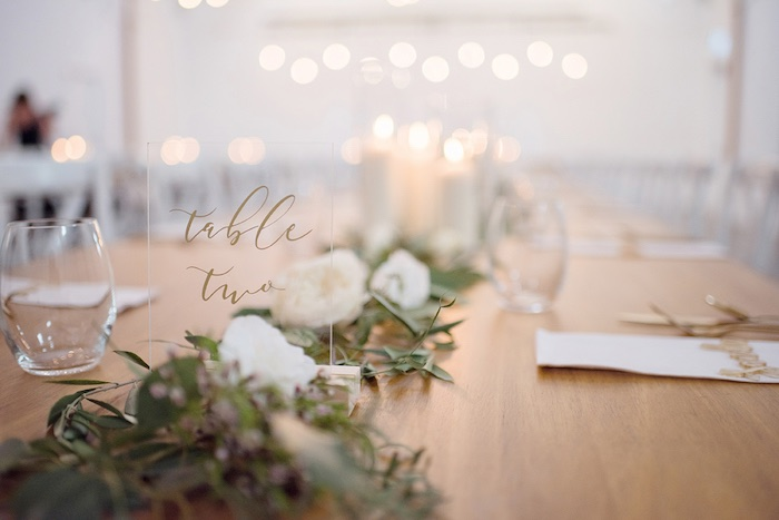 Acrylic Table Sign from a Minimal & Elegant Oceanside Wedding on Kara's Party Ideas | KarasPartyIdeas.com (16)