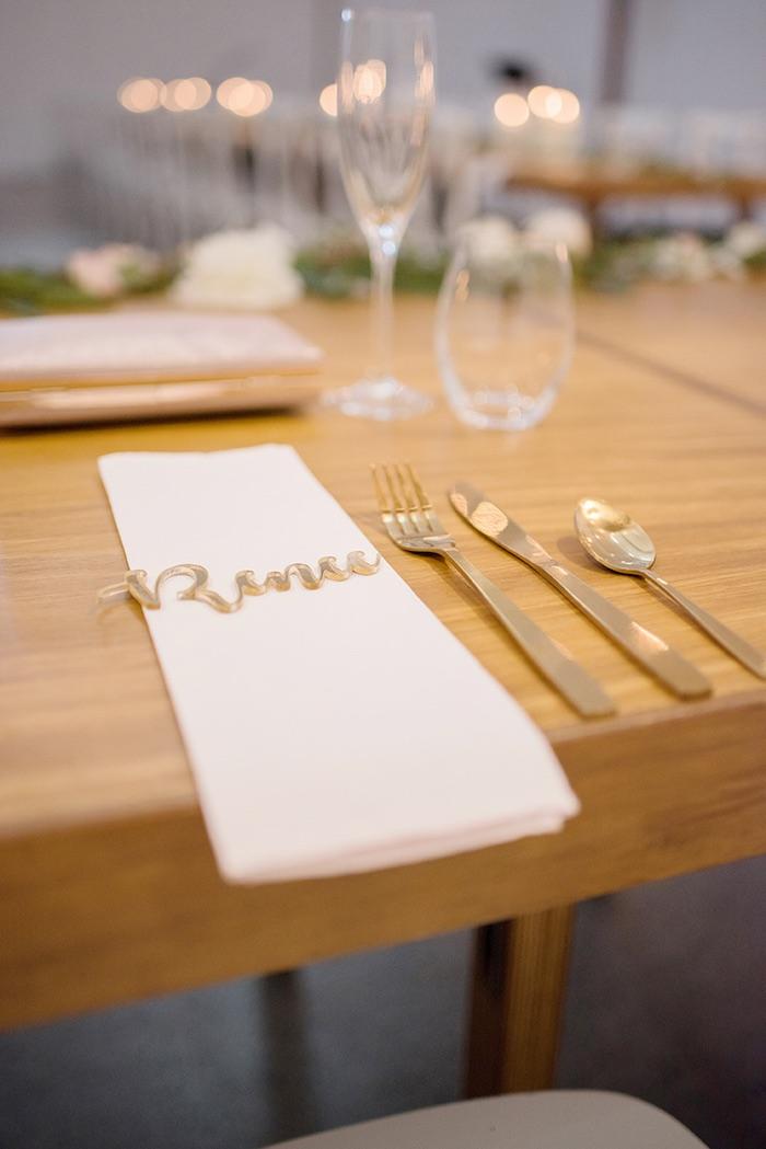 Gold Flatware + White Napkin Table Setting from a Minimal & Elegant Oceanside Wedding on Kara's Party Ideas | KarasPartyIdeas.com (14)