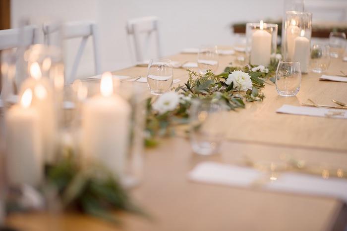 White Flower + Greenery Garland from a Minimal & Elegant Oceanside Wedding on Kara's Party Ideas | KarasPartyIdeas.com (13)