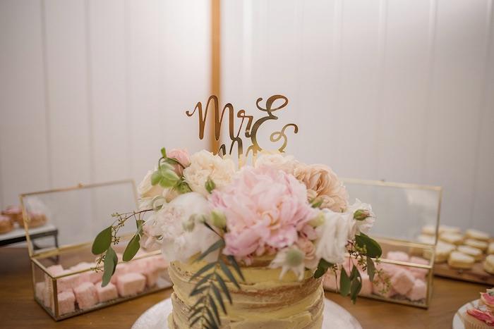 Semi-naked Wedding Cake from a Minimal & Elegant Oceanside Wedding on Kara's Party Ideas | KarasPartyIdeas.com (11)