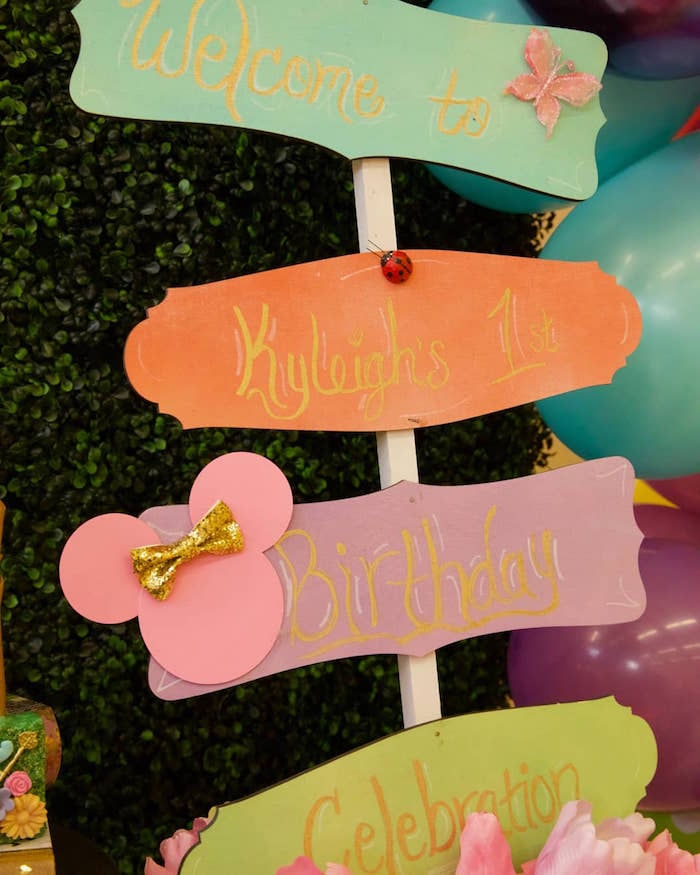 Minnie Mouse Garden Sign from a Minnie Mouse Enchanted Garden Party on Kara's Party Ideas | KarasPartyIdeas.com (6)