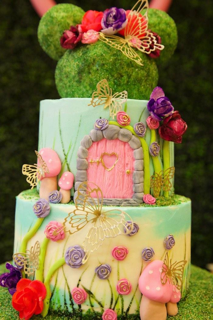 Minnie Mouse Garden Cake from a Minnie Mouse Enchanted Garden Party on Kara's Party Ideas | KarasPartyIdeas.com (18)