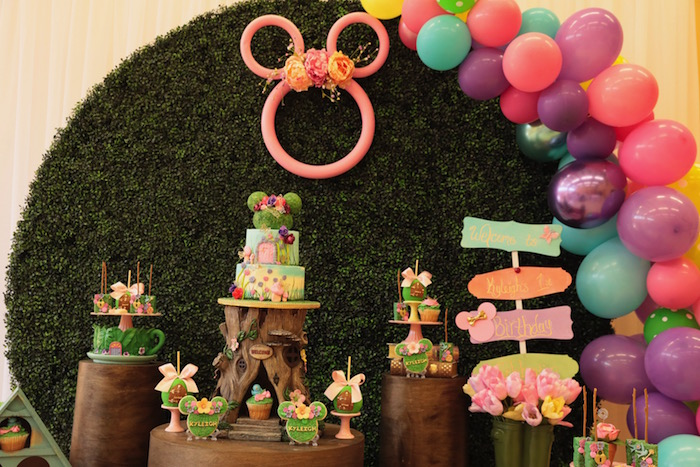 Minnie Mouse Themed Garden Dessert Table from a Minnie Mouse Enchanted Garden Party on Kara's Party Ideas | KarasPartyIdeas.com (13)