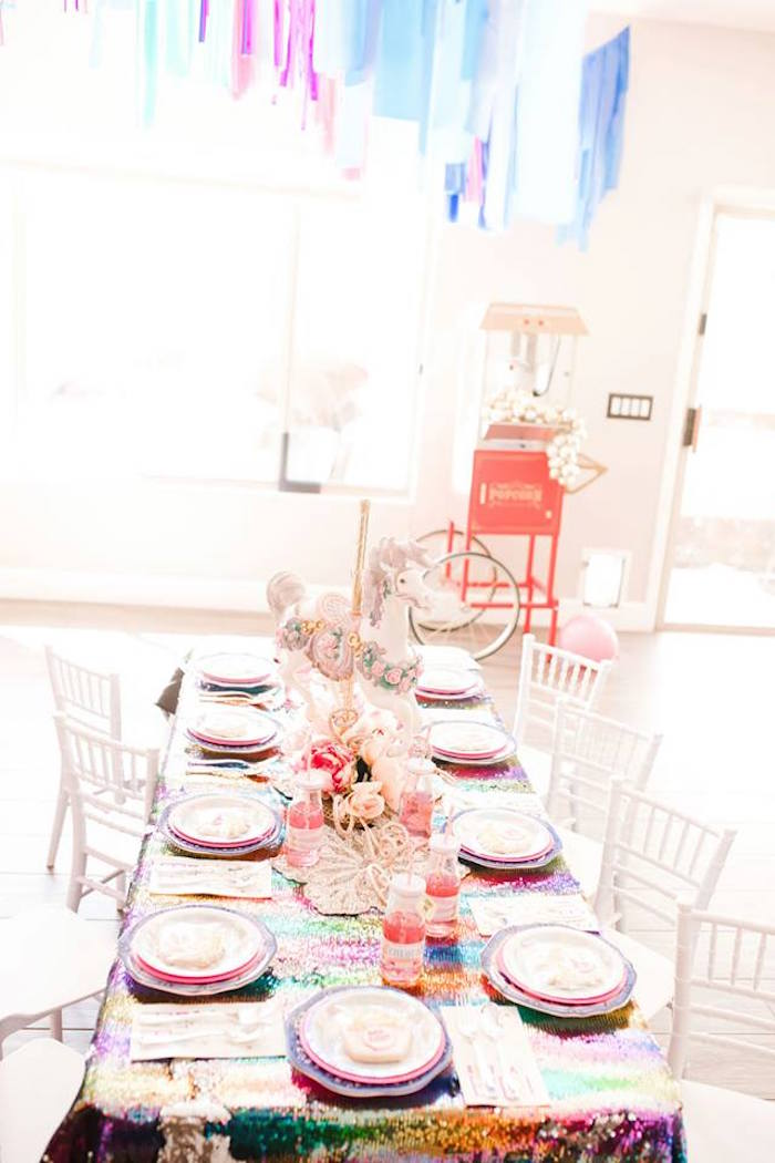 Circus Themed Kid Guest Table from a Modern Classic Circus Party on Kara's Party Ideas | KarasPartyIdeas.com (28)