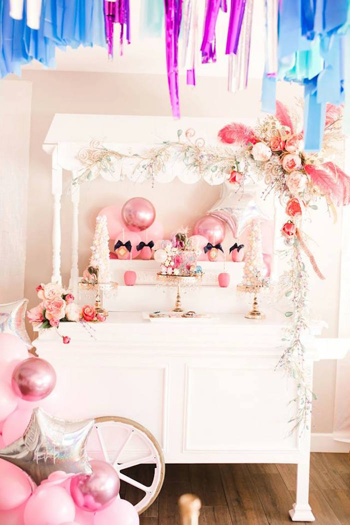 Gorgeous Pink + White Circus-inspired Dessert Cart from a Modern Classic Circus Party on Kara's Party Ideas | KarasPartyIdeas.com (26)