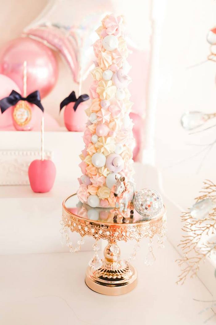 Circus Themed Meringue Tower from a Modern Classic Circus Party on Kara's Party Ideas | KarasPartyIdeas.com (25)