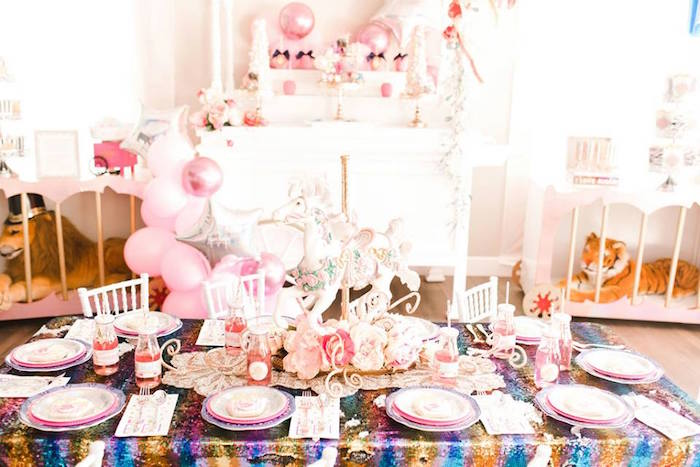 Circus Themed Party Table from a Modern Classic Circus Party on Kara's Party Ideas | KarasPartyIdeas.com (24)