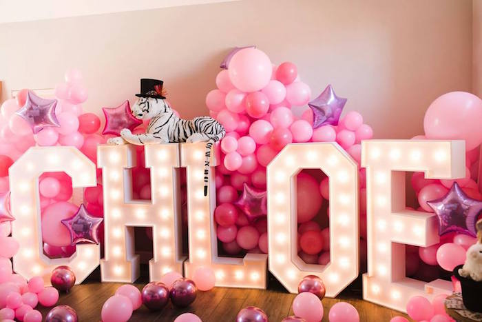 Giant Marquee Light Letter Backdrop from a Modern Classic Circus Party on Kara's Party Ideas | KarasPartyIdeas.com (22)