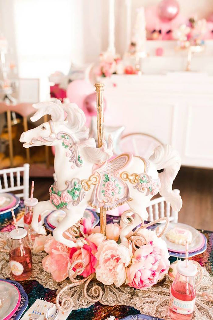 Circus Horse Table Centerpiece from a Modern Classic Circus Party on Kara's Party Ideas | KarasPartyIdeas.com (19)