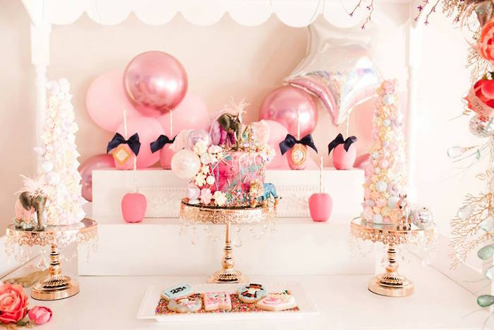 Girly Circus Themed Sweet Table from a Modern Classic Circus Party on Kara's Party Ideas | KarasPartyIdeas.com (18)