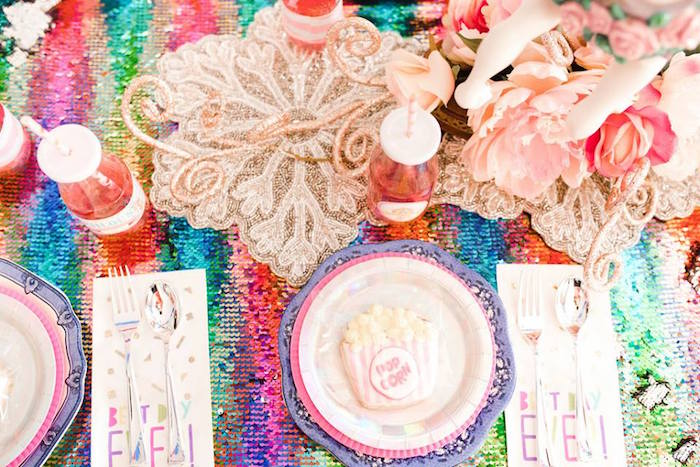 Glam Rainbow Guest Table + Place Setting from a Modern Classic Circus Party on Kara's Party Ideas | KarasPartyIdeas.com (16)