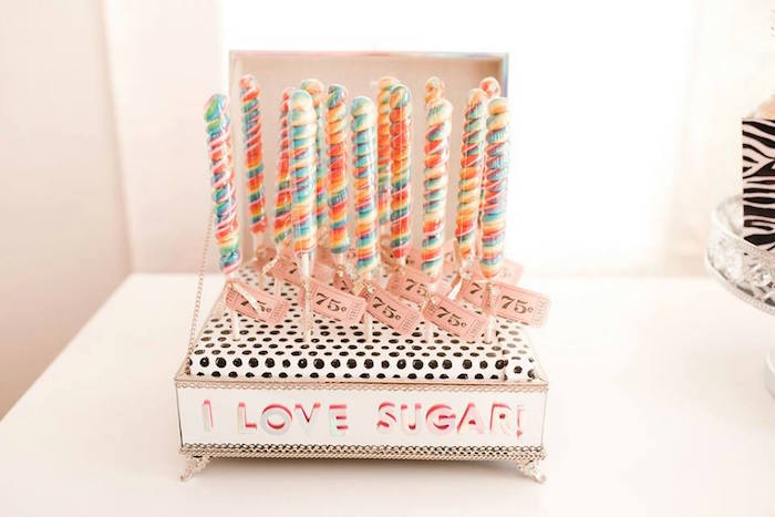 Twirl Lollipops adorned with Tickets from a Modern Classic Circus Party on Kara's Party Ideas | KarasPartyIdeas.com (12)