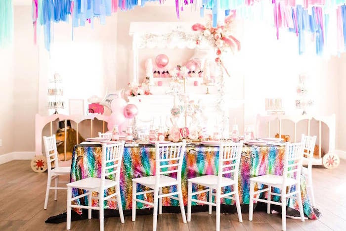 Rainbow Glam Circus Themed Guest Table from a Modern Classic Circus Party on Kara's Party Ideas | KarasPartyIdeas.com (8)