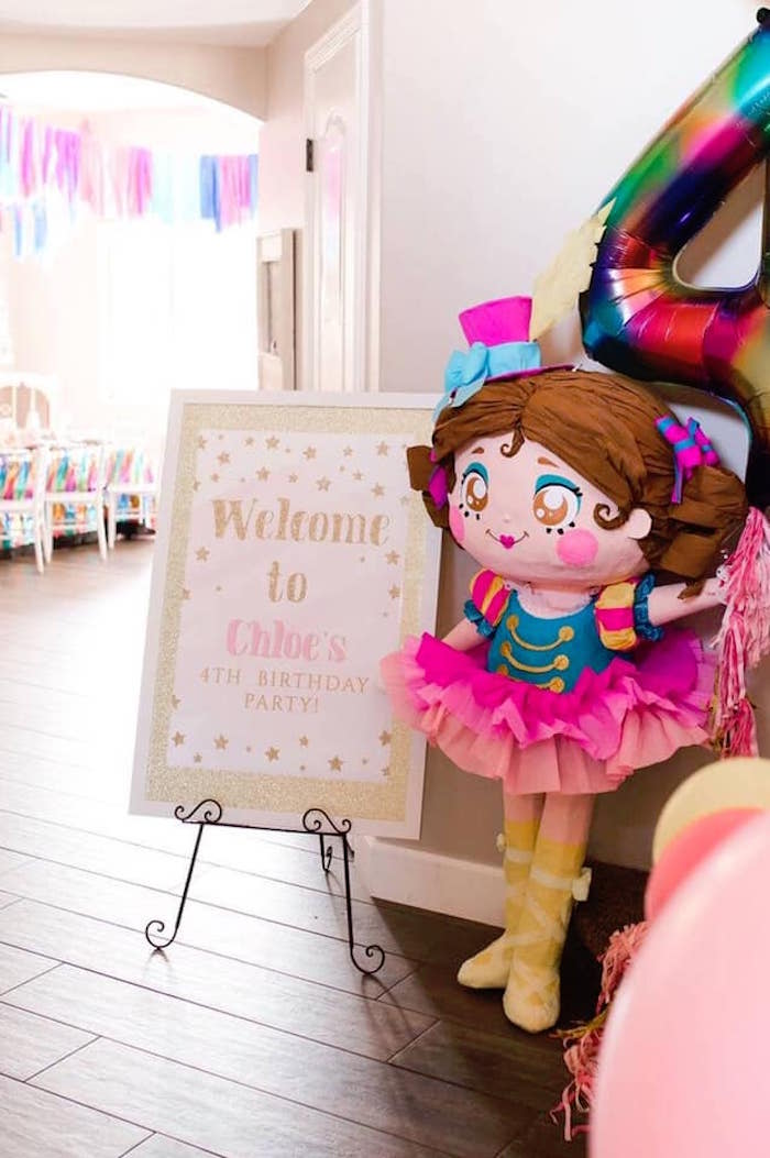 Circus Girl + Welcome Sign from a Modern Classic Circus Party on Kara's Party Ideas | KarasPartyIdeas.com (7)