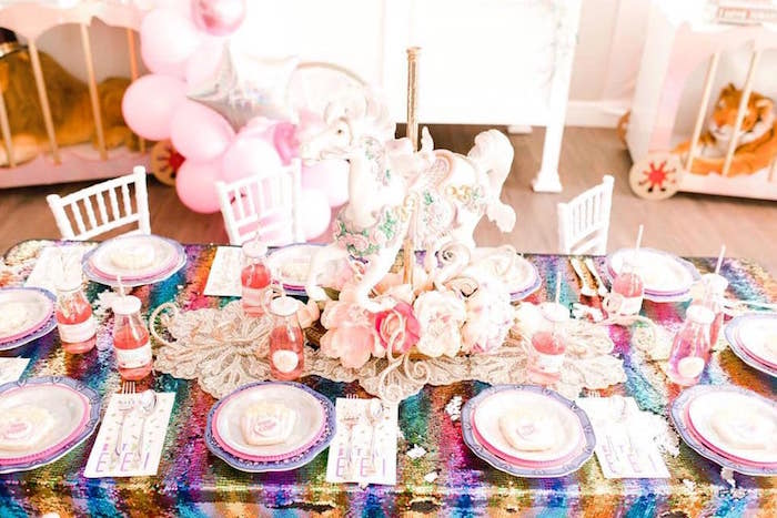 Rainbow Glam Circus Themed Guest Table from a Modern Classic Circus Party on Kara's Party Ideas | KarasPartyIdeas.com (5)