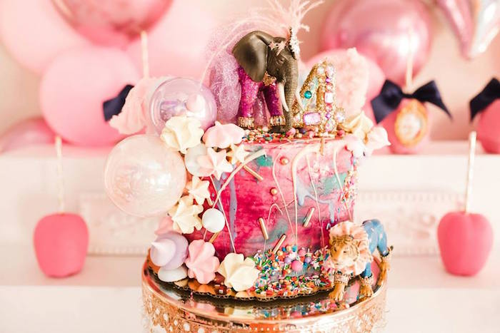 Girly Circus Cake from a Modern Classic Circus Party on Kara's Party Ideas | KarasPartyIdeas.com (41)
