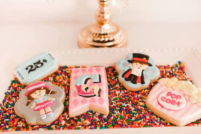 Circus Themed Sugar Cookies from a Modern Classic Circus Party on Kara's Party Ideas | KarasPartyIdeas.com (37)