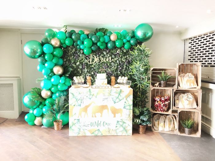 Wild One Dessert Table from a Modern Jungle Birthday Party on Kara's Party Ideas | KarasPartyIdeas.com (13)