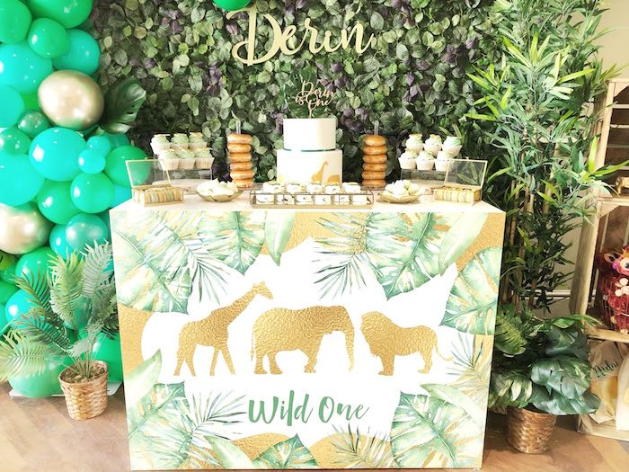 Wild One Dessert Table from a Modern Jungle Birthday Party on Kara's Party Ideas | KarasPartyIdeas.com (12)