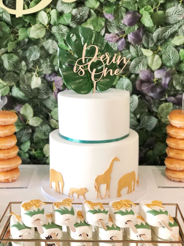 Jungle Animal Cake from a Modern Jungle Birthday Party on Kara's Party Ideas | KarasPartyIdeas.com (11)