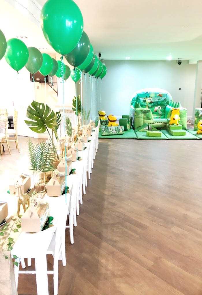 Jungle Themed Kid Dining Table from a Modern Jungle Birthday Party on Kara's Party Ideas | KarasPartyIdeas.com (9)