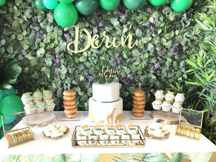 Jungle Themed Dessert Table from a Modern Jungle Birthday Party on Kara's Party Ideas | KarasPartyIdeas.com (8)